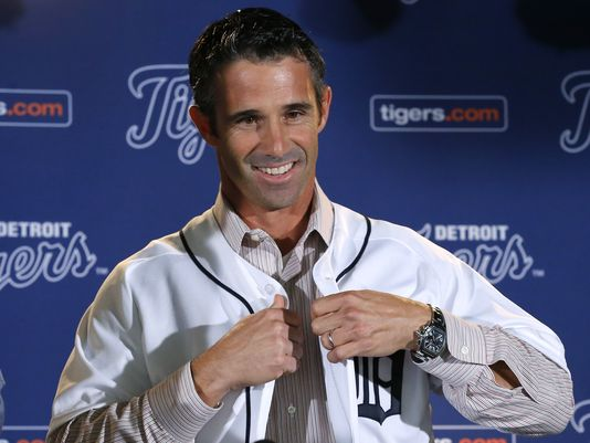 Brad Ausmus announced as Manager of the Detroit Tigers. Photo by Paul Sancya, AP.